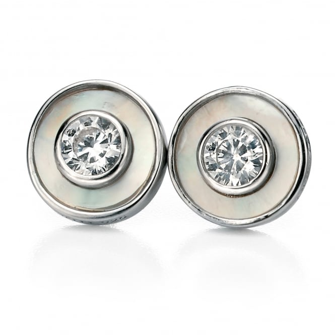 Fiorelli Silver Round Mother Of Pearl Stud Earrings E4992W