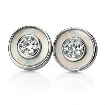 Silver Fiorelli Round Mother Of Pearl Stud Earrings E4992W