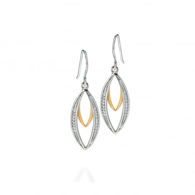 Fiorelli Silver Silver and Gold Plate Drop Earrings With Cubic Zirconia E4678C