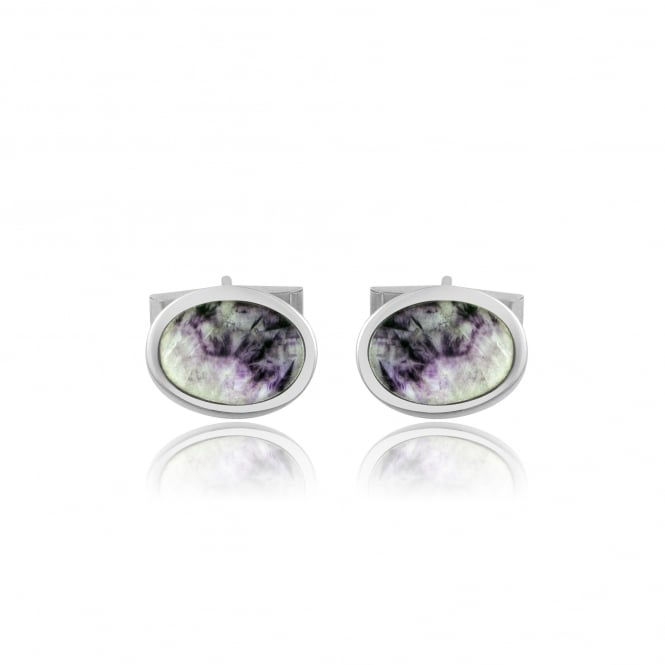 Silver Flat Oval Blue John Cufflinks AS3224