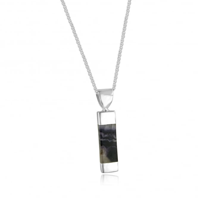 Silver Ingot Shape Blue John Pendant and Chain PS2555 + CS2941