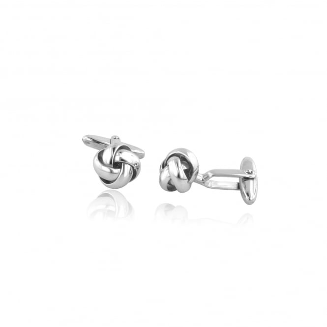Silver Knot Cufflinks With Bar Fittings AS3452