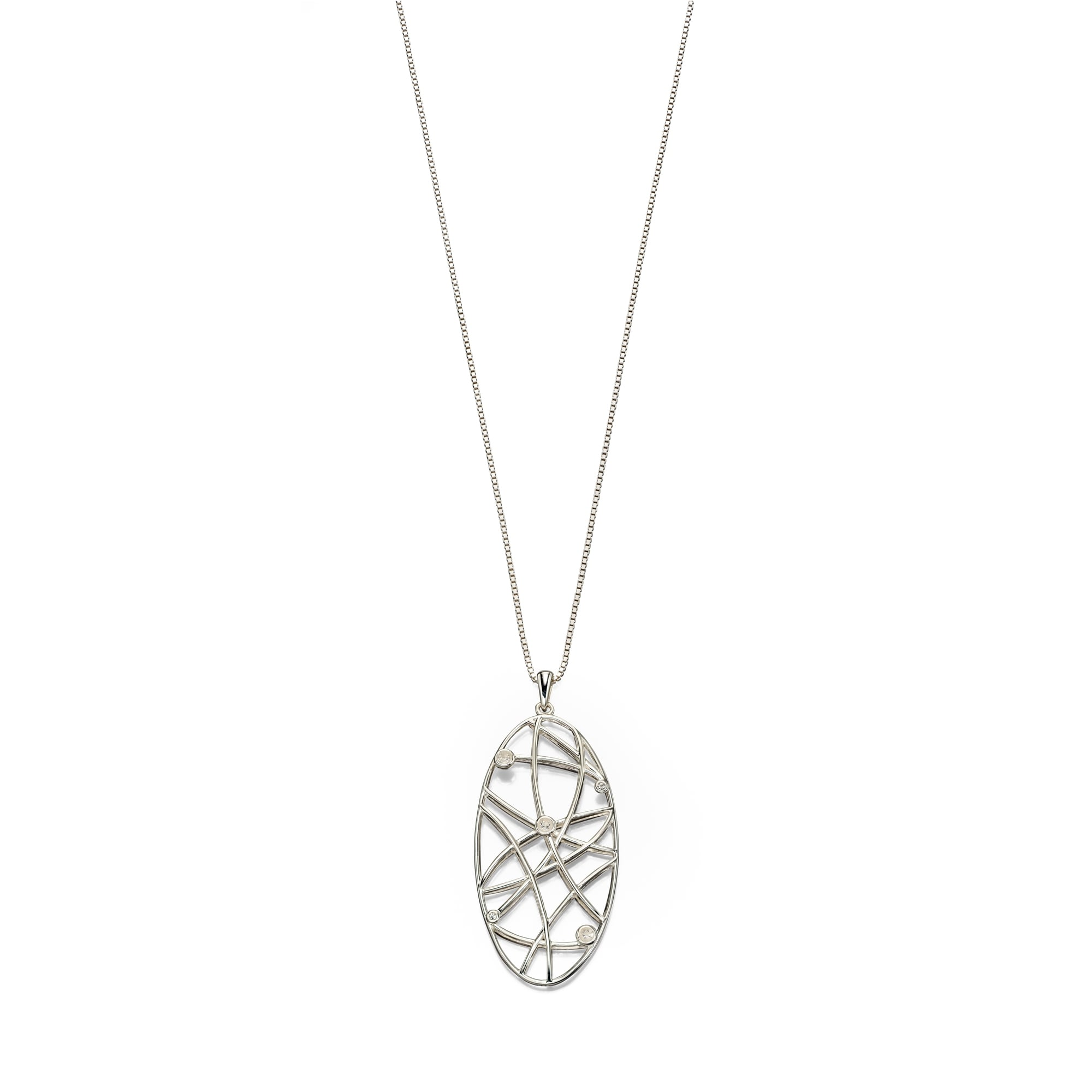 Silver Long Oval Open Wire Pendant and Chain PS3663 + CS3081