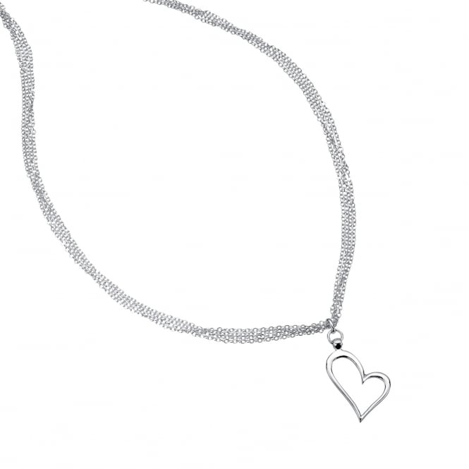 Silver Multi-strand Heart Necklace NLS3411
