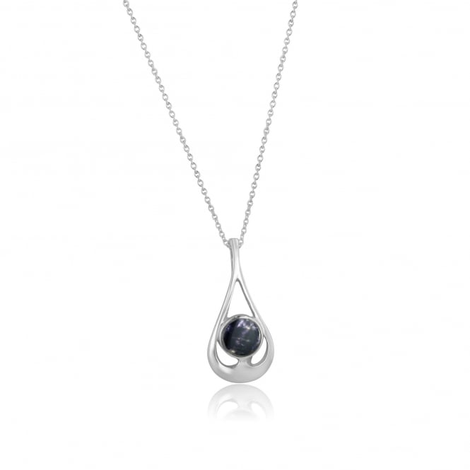 Blue John Silver Open Teardrop Pendant With Round and Chain PS20201 + CS3056