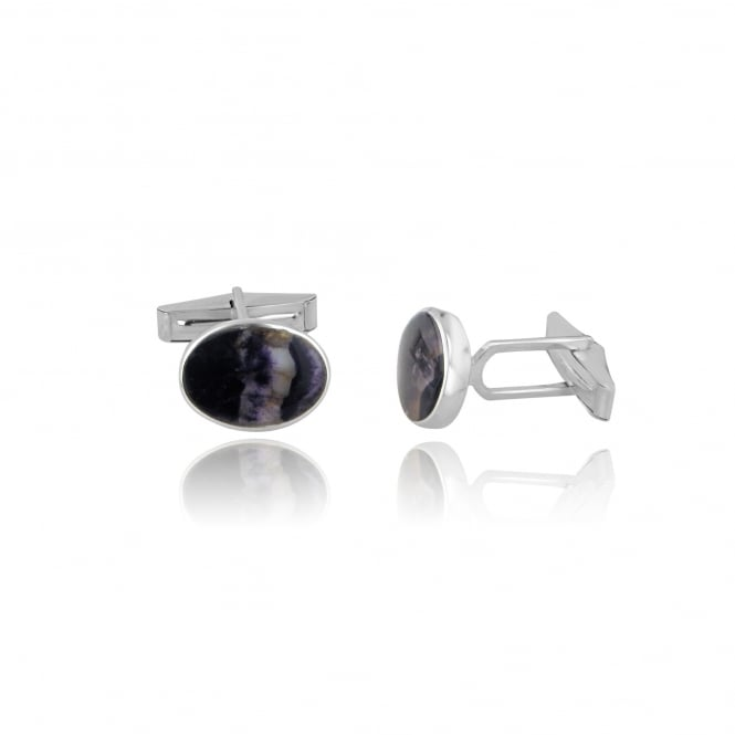 Silver Oval Blue John Cufflinks AS11419