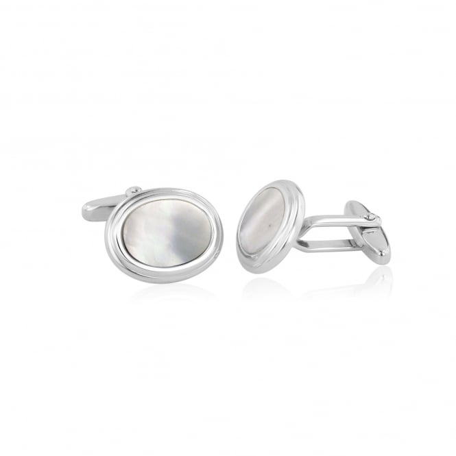 Silver Oval Mother Of Pearl Cufflinks AS3629