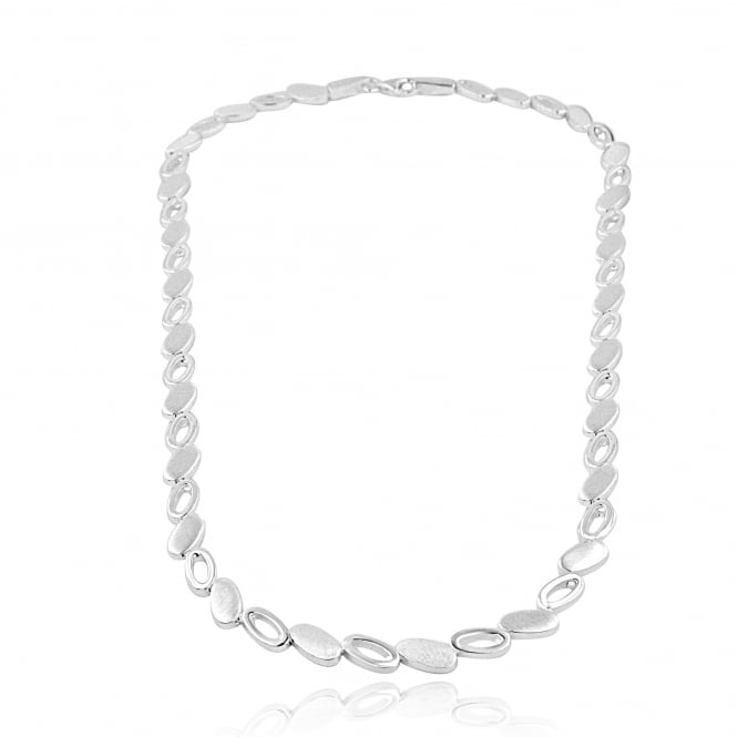 Silver Oval Satin and Polished Link Necklace