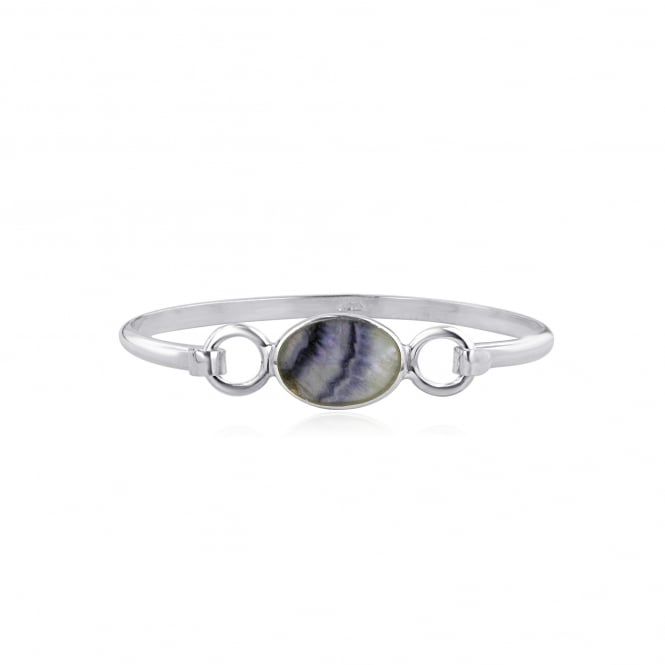 Silver Oval Top Bangle With Derbyshire Blue John LS1828