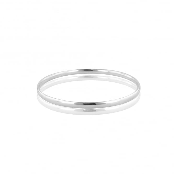 Silver Polished 4mm Wide Solid Bangle LS3615
