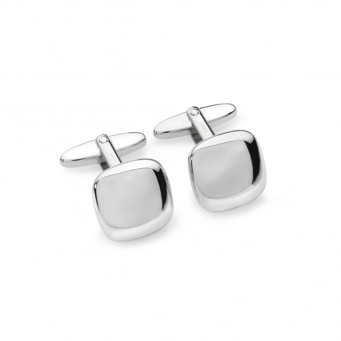 Silver Polished Cushion Cufflinks