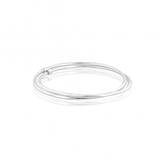 Silver Polished Double Solid Bangle LS3620