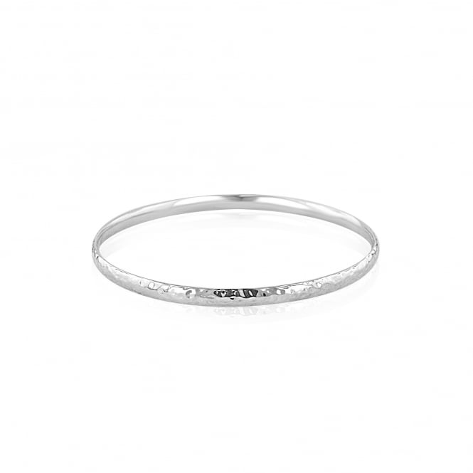 Silver Polished Hammered Solid Bangle LS3621