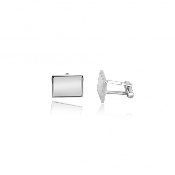 Silver Rectangular Cufflinks With Engraved Edge AS3445