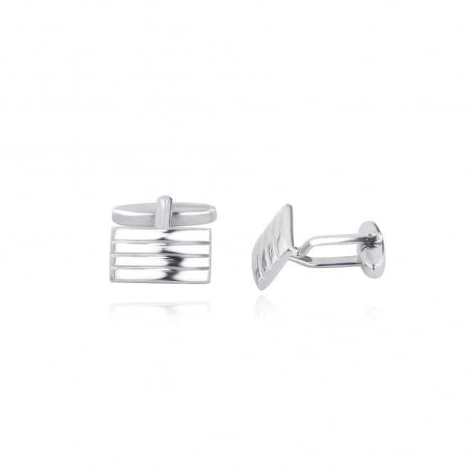 Silver Rectangular Cufflinks With Three Grooves AS30212