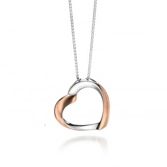 Silver Rose Plated Fiorelli Heart Necklace P4325