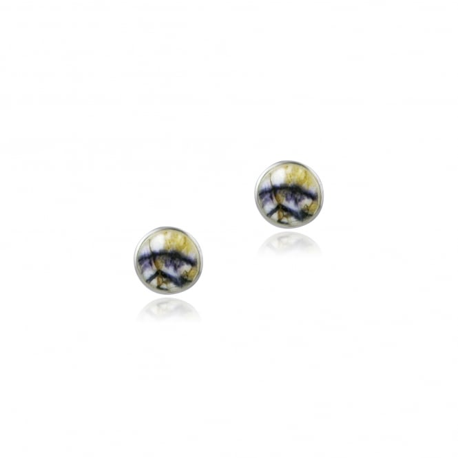 Silver Round Blue John Stud Earrings EST18398