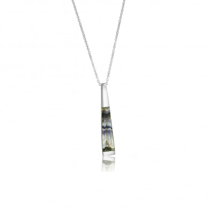 Silver Tapered Ingot Blue John Pendant and Chain PS22178 + CS3056