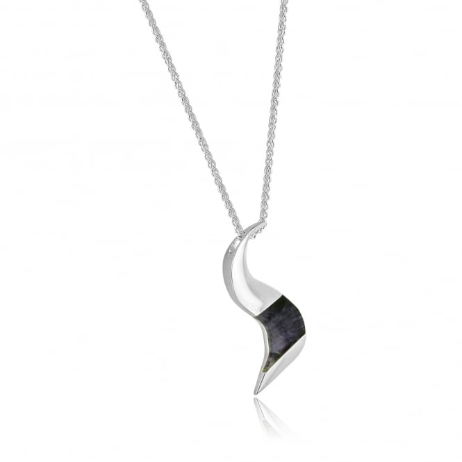 Silver Wavy Blue John Pendant and Chain PS26140 + CS2941