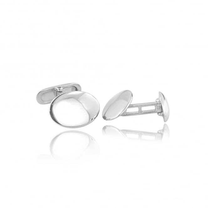 Slim Oval Silver Cufflinks AS3631