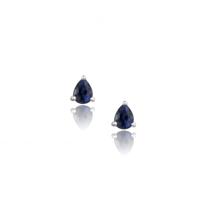 Small 18ct White Gold Pear Sapphire Stud Earrings