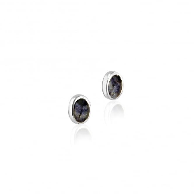 Blue John Small Oval Silver Stud Earrings EST1488