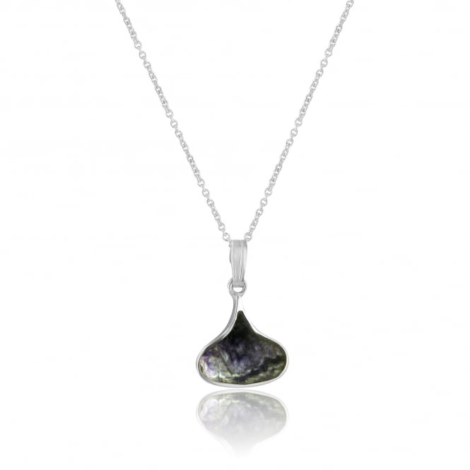Small Silver Short, Wide Teardrop Blue John Pendant and Chain PS1885 + CS3056