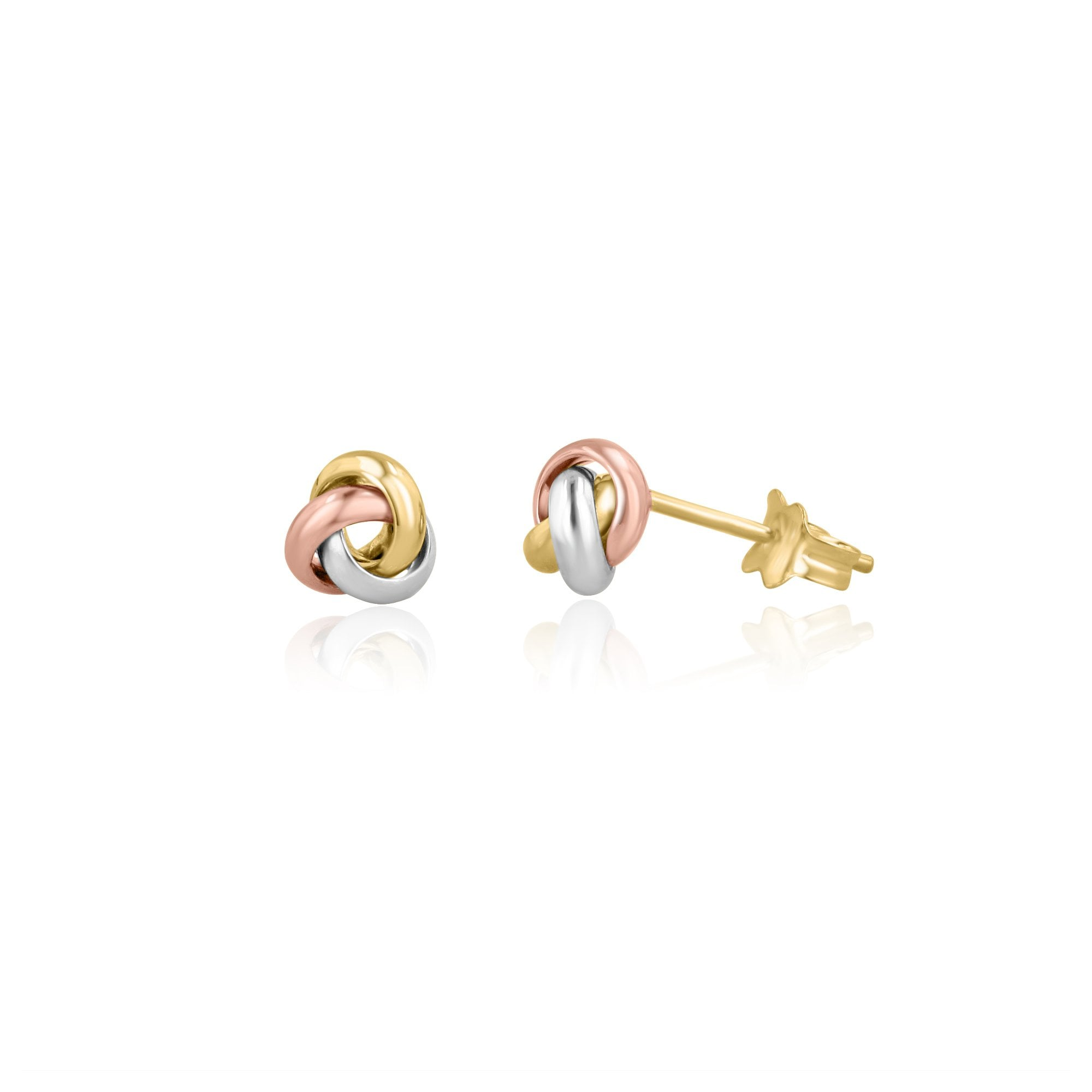 dc5254e03 Small Three Colour Gold Knot Stud Earrings - Womens from Avanti of  Ashbourne Ltd UK