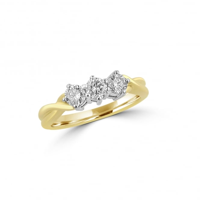 SOLD 18ct Gold Three Stone Diamond Ring RYN36276