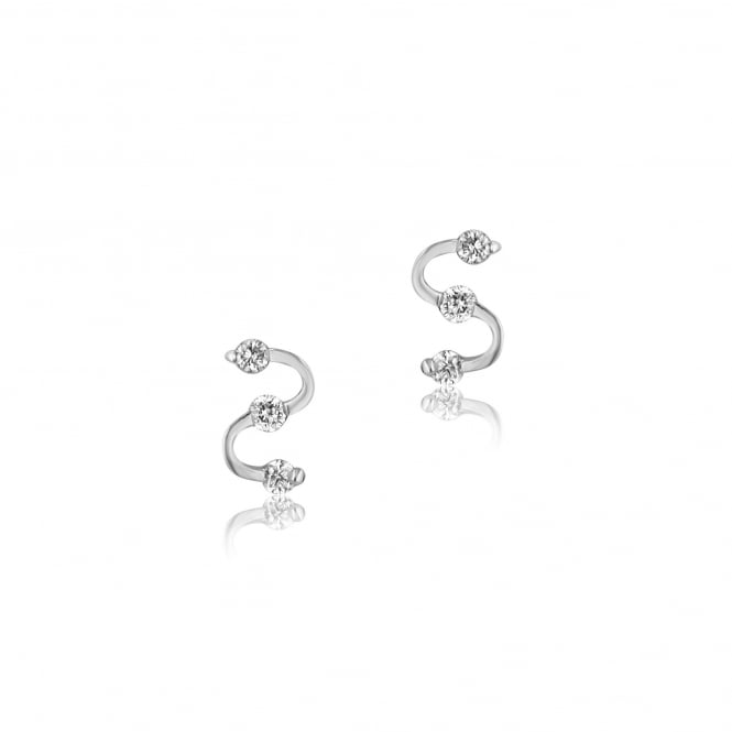 SOLD 18ct White Gold Diamond Wave Earrings