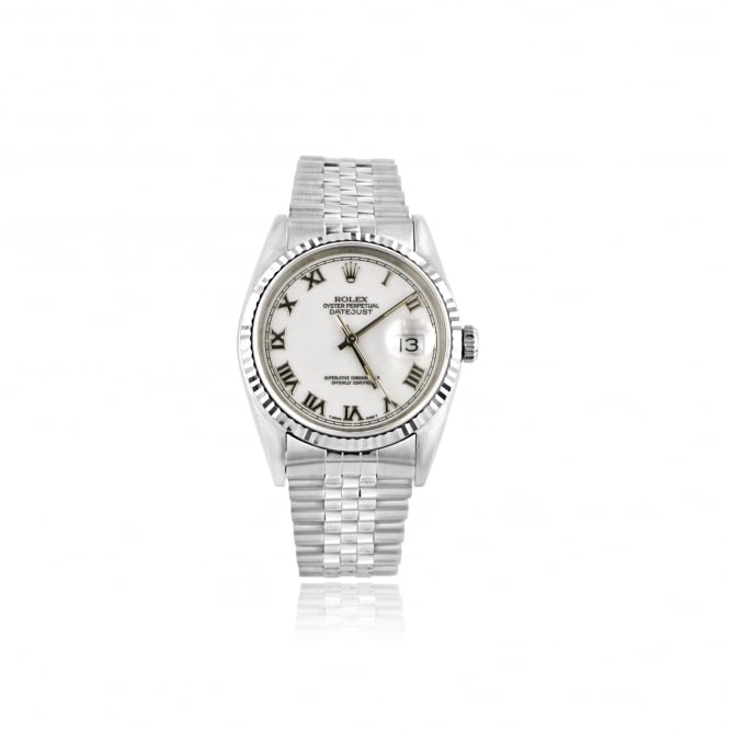 Rolex SOLD Mens Steel Oyster Perpetual Datejust Watch with White Dial