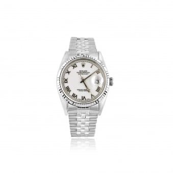 SOLD Mens Steel Rolex Oyster Perpetual Datejust Watch with White Dial