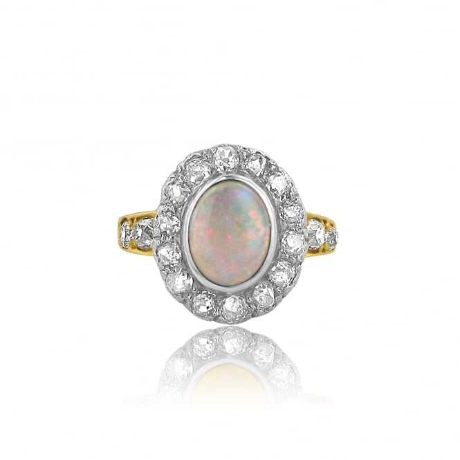SOLD Vintage 18ct Gold Opal and Diamond Dress Ring