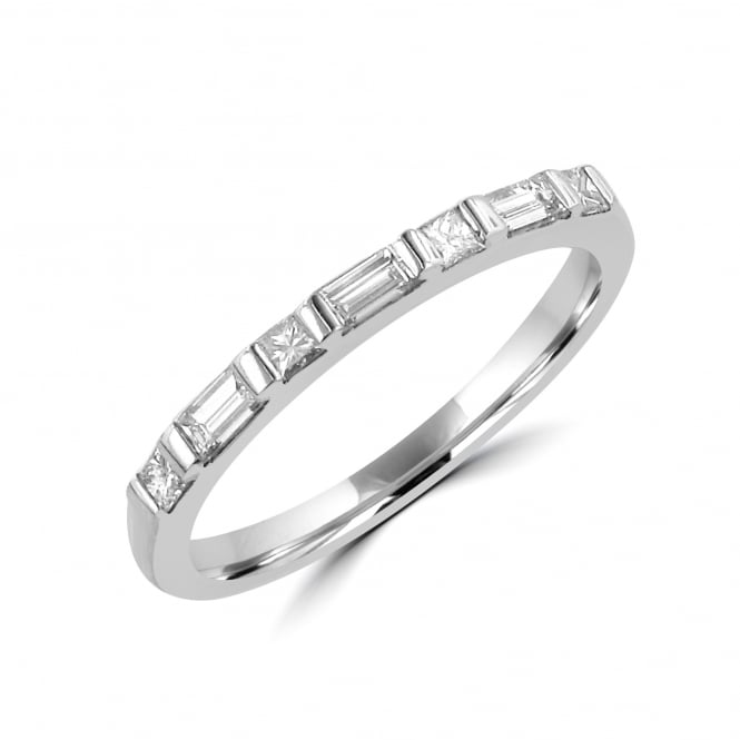 SOLD White Gold Princess and Baguette Cut Diamond Ring RWT20410