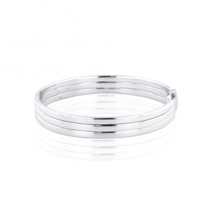 Three band Silver bangle LS3644