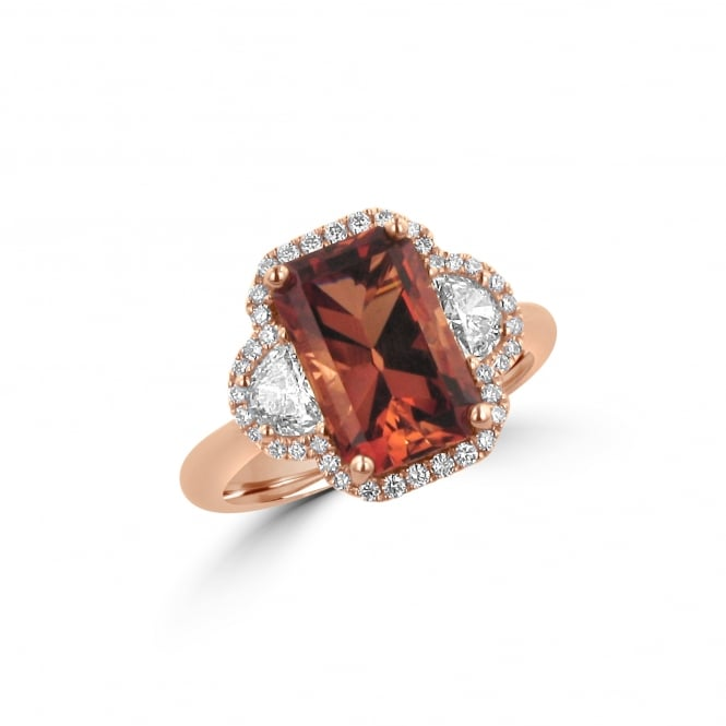 Three Carat Oregon Sunset and Diamond Ring in Rose Gold