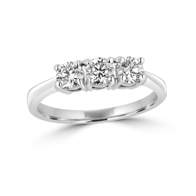 Three Round Diamond trilogy Ring in Platinum
