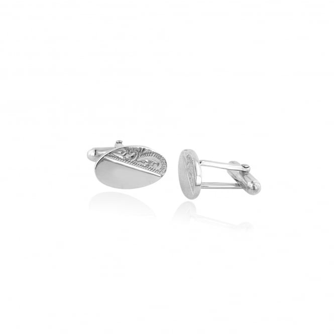 Traditional Engraved Oval Cufflinks in Silver AS3446