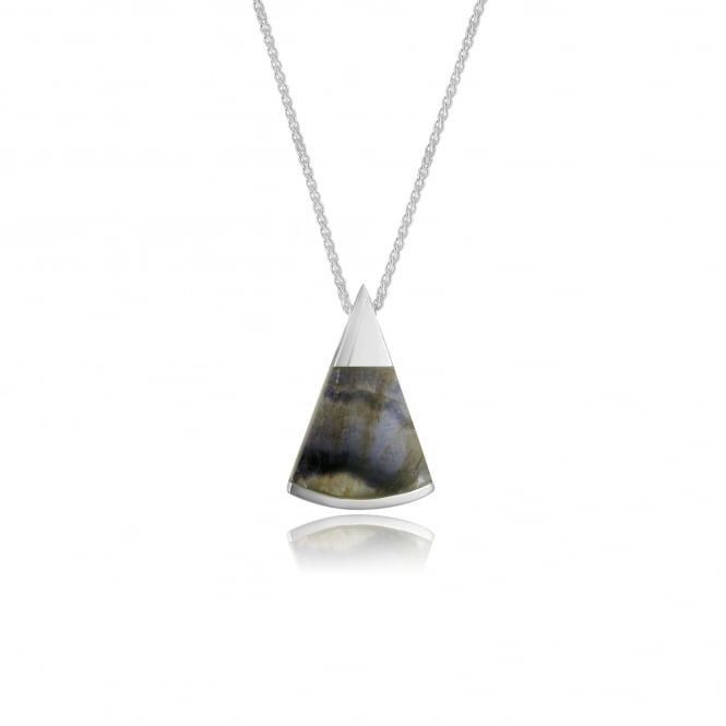 Triangular Silver Blue John Pendant and Chain PS1520 + CS2941