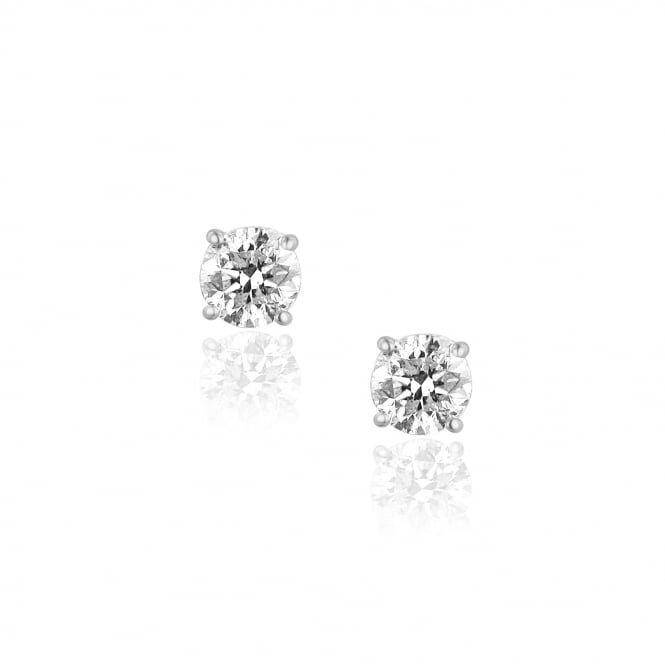 Two Carat Diamond Stud Earrings in White Gold