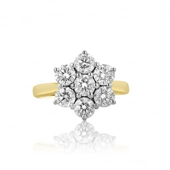 Two Carat Pre-owned Diamond Cluster Ring