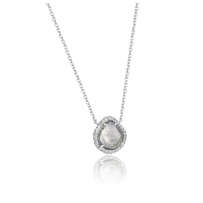 Unusual 18ct White Gold Grey Rose Cut Diamond Necklace