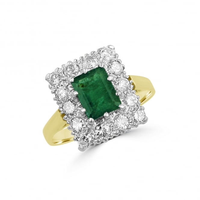 Vintage 1.50ct Emerald and 0.80ct Diamond Cluster Ring RYD36378