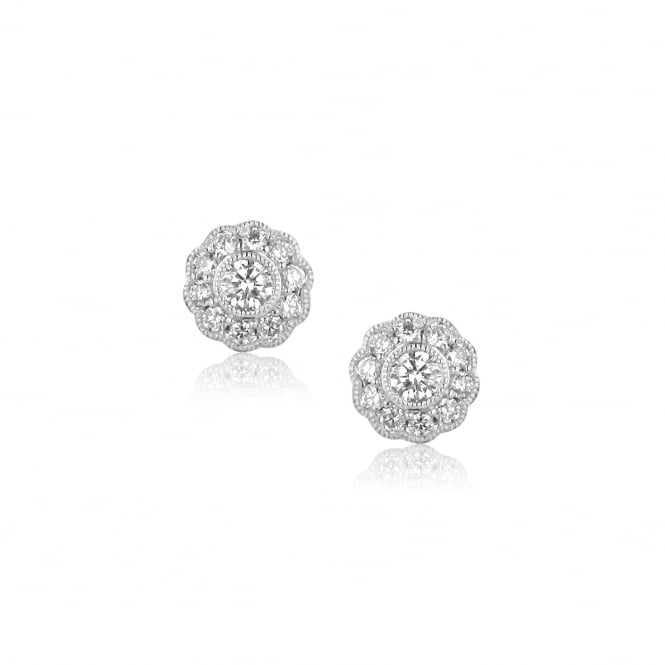 Vintage Inspired 18ct White Gold Diamond Cluster Earrings