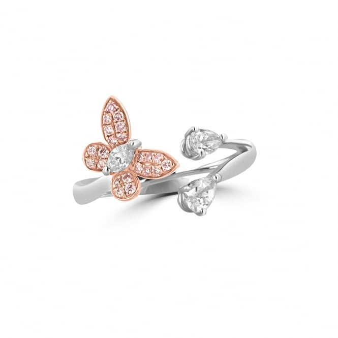 White and Pink Diamond Butterfly Ring