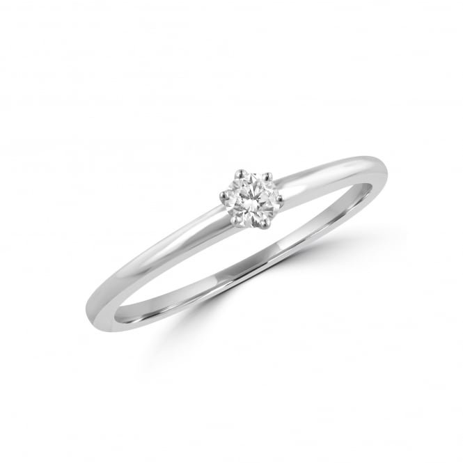 White Gold 0.10ct Round Diamond Solitaire Ring