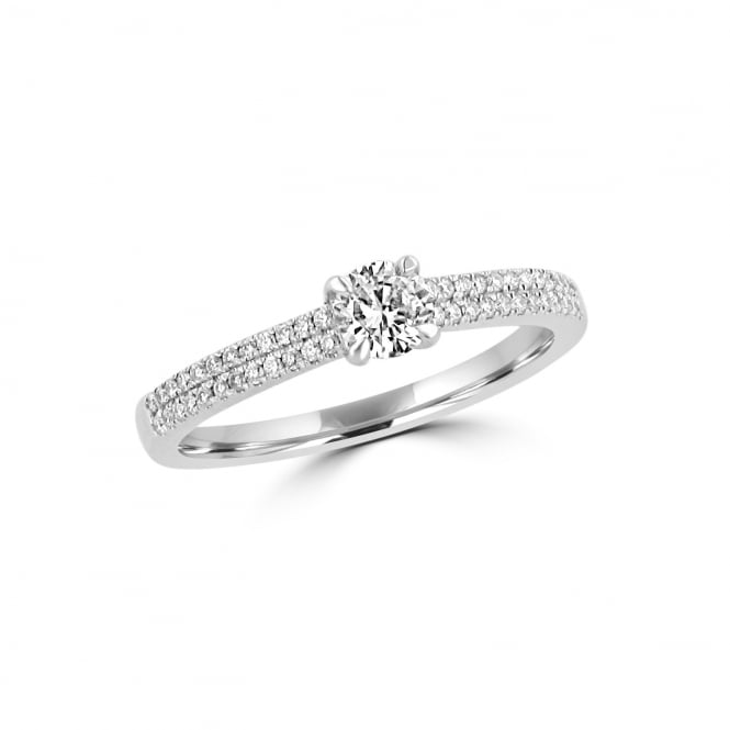 White Gold Diamond Engagement Ring 0.24ct and Diamond Band