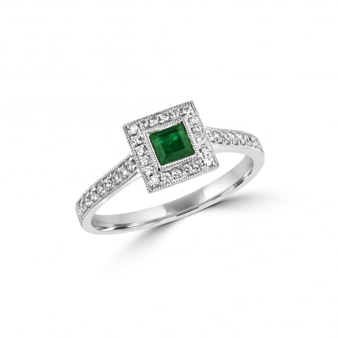 White Gold Emerald and Diamond Deco Cluster Ring