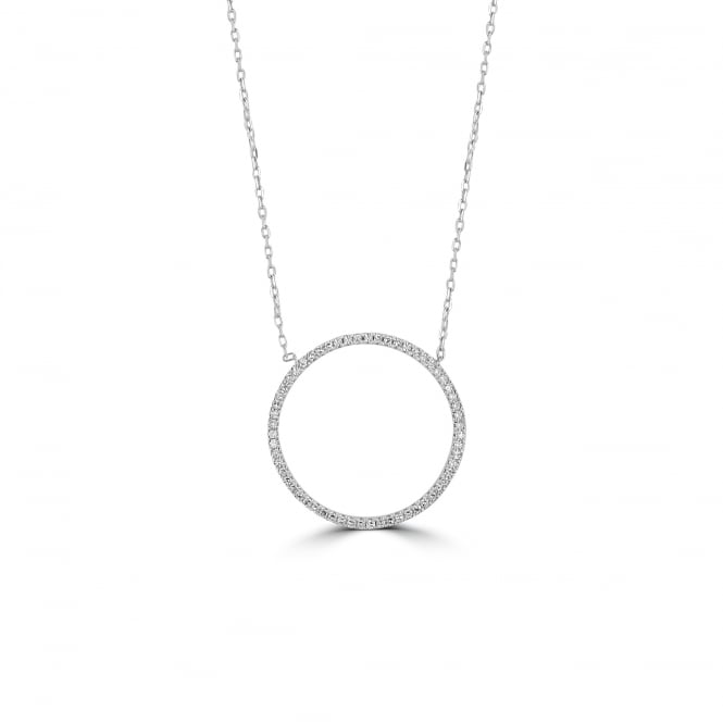 White Gold Open Circle Diamond Necklace