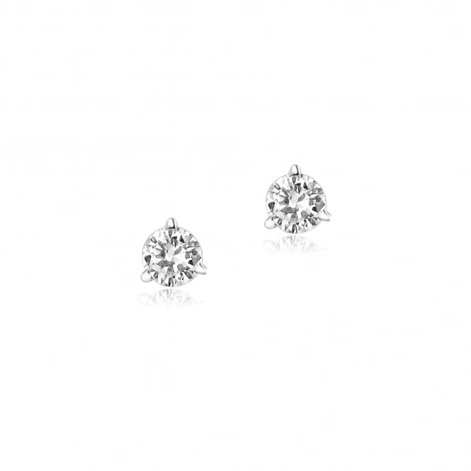 White Gold Round Brilliant Cut Diamond Stud Earrings 0.46ct Total